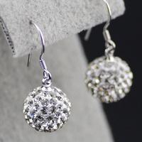 E249  crystal ball 925 pure silver earrings fashion earring fashion accessories  earring sterling silver earring