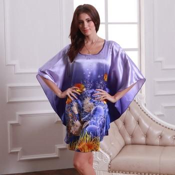 2014 Синий Фиолетовый Бабочка Рукавs Female Nightgown Printed, Large Размер Graceful ...
