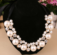 $10 Free Shipping New Fashion Rhinestone Simulated Pearl Ribbon Choker Necklaces for Women Pearl Necklaces Accessories Gifts