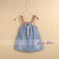 Summer new arrival 2014 child adjustable braces skirt girls clothing baby double pocket classic denim skirt