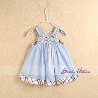 2014 spring and summer child clothing baby girls denim tank dress braces skirt plaid patchwork kid's skirt