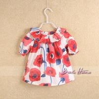 Bab hannah 2014 summer fashion ruffle collar flower cute short-sleeve shirt pullover shirt beautiful