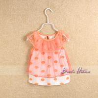 2014idea summer polka dot yarn female child dress child baby short-sleeve lace collar cute shirt tank dress shirt