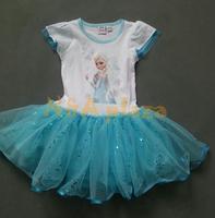 Summer Cartoon Princess Frozen Queen Elsa Elegant Toddle Girls Baby Dresses Girl Dress Kids Children Clothing Free shipping