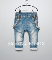 Free shipping. new fashion Children Boys Bib Girls jeans baby boys child jeans Kids strap trousers