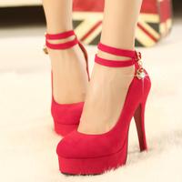 2014 bridal female platform red 12.5cm high-heeled  wedding shoes