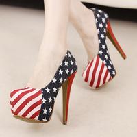 2014 high-heeled shoes princess thin heels shoes platform women's platform shoes fashion t single shoes
