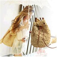 Free shipping ! Wholesale! 2014 new fringe rattan grass women inclined shoulder bag, handbag-wj
