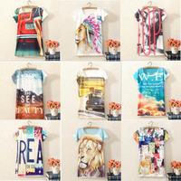 Free Shipping 4014 New Women' s 3D T-shirt Animal Letters Printing Short sleeve  Summer Women T shirt