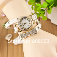 New Arrival wrap Around Bracelet Watch,Bowknot Crystal Imitation leather chain women's Quartz wrist watches Christmas watches