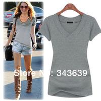 Sales promotion!2014 New Slim Fashion Plus Size S-XXL100% Cotton Short-Sleeve V-neck Personality Women T-Shirt Free Shipping T68