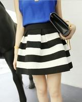 2014 Spring puff skirt High Waist Ball Gown Skirts Black White Stripe Colored Stripes Woman's Bust Skirt Slim Hip Short Skirt