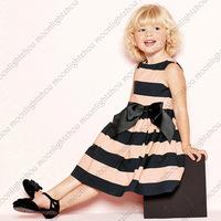 Retail -- New 2014 pink black striped big bow baby dress girls clothing casual dress sleeveless girl dress tcq 010 C-1