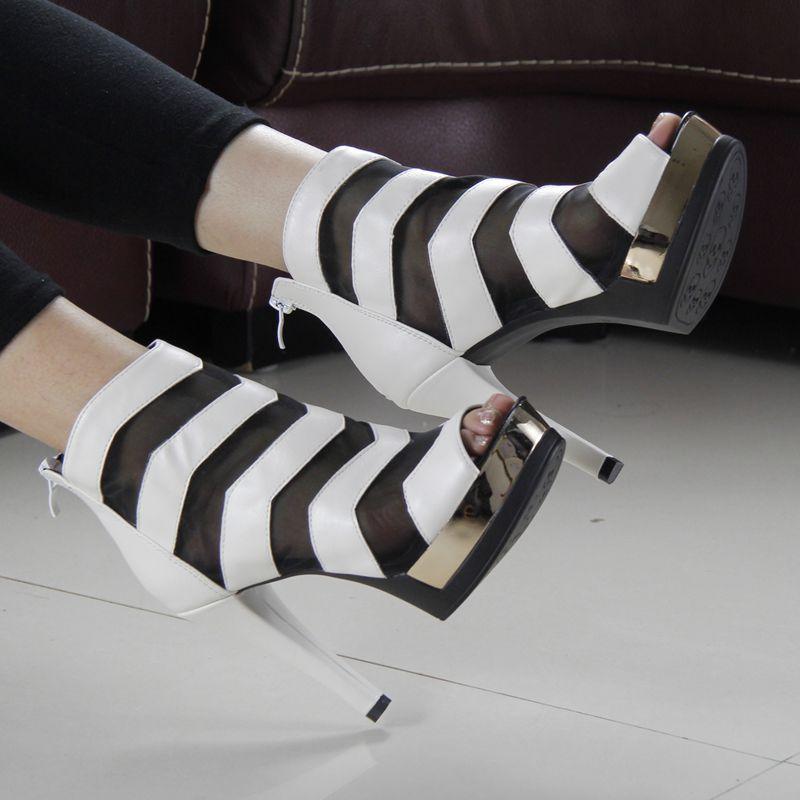 Ultra thin heels high heels shoes metal platform back zipper boots british style open toe boots(China (Mainland))