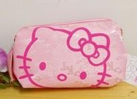 Pink  ground red cat head Hello Kitty cat head elegant makeup bag /Pocket money bag