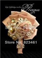 Free Shipping Handmade 2014 Ultra-luxury Groom Shining Boutonniere Wedding Crystal Brooch Men Corsage 3