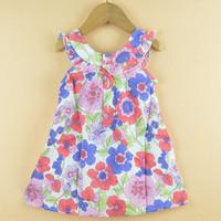 6pcs/lot Girls Dress New Designer 100% cotton 2014 summer flower child clothing baby dress princess dress summer child dress