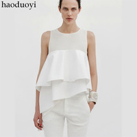 saia plus size runway spring brand new in 2014 vintage casual sale body summer ruffle chiffon shirt blusas femininas blouses top