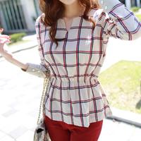 Clothing basic shirt spring and summer spring 2014 top slim waist long-sleeve plaid shirt female