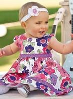 QZ-401,5pcs/lot free shipping 2014 summer children dresses beautiful girl flower print princess dress cotton kid dress girls