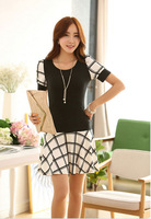 2014 New Hot Sales Women's Clothing Fashion Grid Cotton Casual Dresses Short Sleeve Elegant One-piece Slim Dress