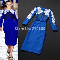 2012 autumn and winter women fashion embroidery flower blue medium-long slim woolen one-piece dress