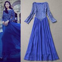 Fashion women's 2013 embroidered flower applique one-piece dress