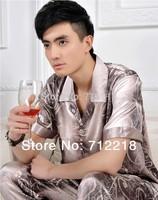 Free Shipping Summer shorts -sleeve silk pajamas set men sleepwear lounge / indoor clothing