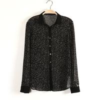 hot cheap blouse Fashion turn-down collar long-sleeve women black leopard print blouse chiffon Woman feminina leopard blouse