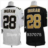 Cheap Free Shipping Men's Elite American Football Jerseys New Orleans # 28 Mark Ingram Stitched Black  White Jersey