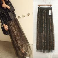 2014 spring and summer women's fashion leopard print chiffon gauze long paragraph ultra skirt bust skirt long skirt