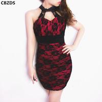 Vintage cheongsam sexy tight low-cut slim hip turtleneck patchwork basic three-dimensional lace one-piece dress