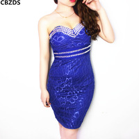 2014 spring and summer sexy quality women's tube top with diamond tight hip slim medium-long lace one-piece dress