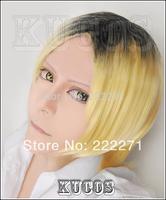 FREE SHIPPING Anime Haikyuu!! Lover Tsukishima Kei Short Black Blonde Gradient Full Lace Cosplay Wig Heat Resistant + Cap