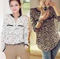 New fashion plus size leopard pattern print shirt  women's long-sleeve shirt chiffon shirt top
