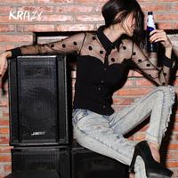 Krazy2014 spring sexy perspectivity vintage polka dot gauze long-sleeve slim shirt Women 786