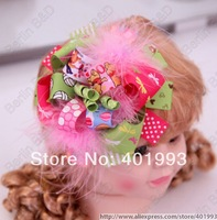 Free shipping wholesale 150pcs/lot Bear print stacked bow,Infant Pink Feather Loopy Flower Hair bow for Photo props,hair clips