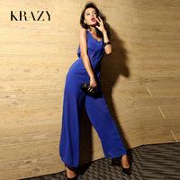 Krazy fashion vintage wide leg pants sexy waist chiffon perspectivity racerback 598 jumpsuit