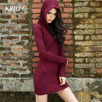 Krazy knitted sweater medium-long pocket hat shirt slim one-piece dress 6115