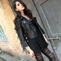Krazy punk tassel leather motorcycle short design leather clothing jacket 6113