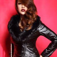 Krazy ladies genuine leather luxury oversized snowshoe fur collar slim fur short design leather clothing 688