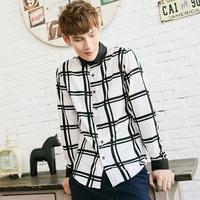 Free shipping retro fashion checkered long-sleeved shirt Slim Men