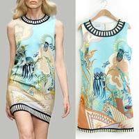 2014 New Fashion Ladies' Elegant Underwater World Animal print Dress o-neck sleeveless slim dress evening party brand dress