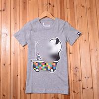 Duomaomao 100% women's summer cotton t-shirt print o-neck short-sleeve