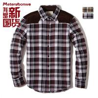 Male patchwork plaid flannel corduroy 100% long-sleeve cotton shirt 222434
