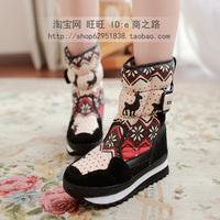 High women's shoes snow cotton waterproof platform boots medium-leg print onta snow boots snow shoes female