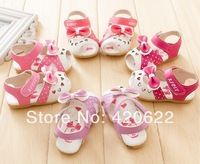 2014 summer baby shoes toddler shoes cartoon rabbit slip-resistant bling cutout shoes 4 colour 12-14cm