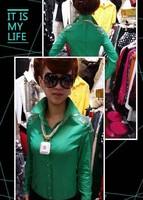 2014 spring all-match fashion long-sleeve slim shirt paillette female t-shirt top