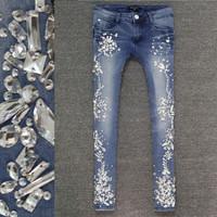 High quality sparkling diamond rhinestones slim skinny jeans pants 9