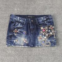 2014 spring cross rhinestones diamond slim hip denim bust skirt short skirt denim female